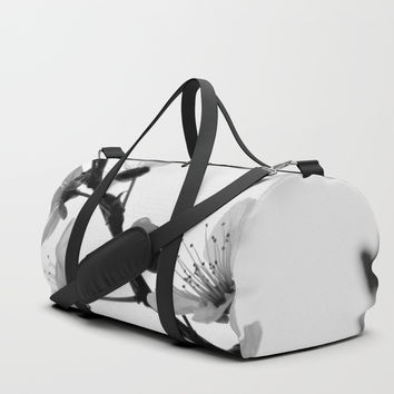 Black A White Blossoms Duffle Bag by ARTbyJWP