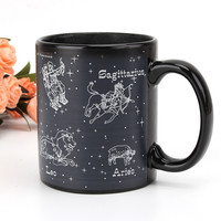 New Hot Cold Temperature Heat Sensitive Color Changing Star Constellation Mug Cup Home Office Coffee Tea Ceramic Cups Black
