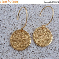 SALE 10% OFF sterling silver drop earrings disc circle round gold dangle earrings 24k gold plated bridemaids earrings every day wear gift
