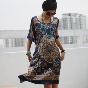 Silk Short Dress in Navy Blue - Boho Gypsie Kaftan - Satin Bohemian Wear - Maternity Wear