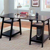 A.M.B. Furniture & Design :: Office Furniture :: Desks :: Black finish wood trestle desk with four open storage shelves below