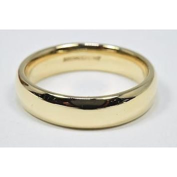 Men's 5.5 mm Wide Art Carved Brand 14k Solid Yellow Gold Band Family & Friends