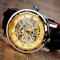 Man Steampunk Gold Mechanical Watch