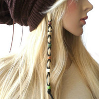 Earth Tone Multi-color Beads Leather Hair Ties Wraps Hair Jewelry, Black Suede Leather Beaded Braided Hair Ties