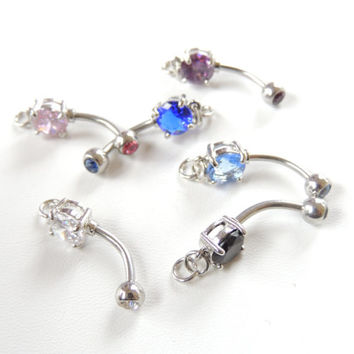 1pc Add Your Own Charm Belly Ring You Choose Color, Prong Set Belly Ring with Loop, 14g Barbell, DIY Belly Ring Jewelry Making Supplies.