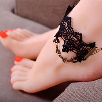 New Arrival Gift Shiny Sexy Cute Jewelry Hot Sale Stylish Ladies Black Anklet [7942914631]