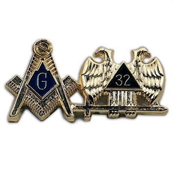 The Masonic Exchange Masonic Square amp Compass 32nd Degree Double Headed Eagle Gold amp Blue Lapel Pin  1 14quot Wide