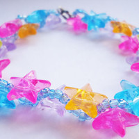 Rainbow Star Bracelet  beaded by FrozenNote on Etsy