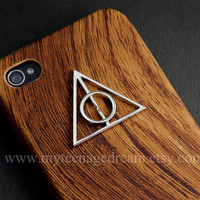 Iphone 4 Case, iphone 4s case, Deathly Hallows, harry potter Iphone Case, brown wood Hard Case