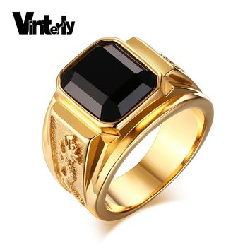 Vinterly Men's Gold Color Black Large Crystal Stainless Steel Jewelry Rhinestone Charm Wedding Dragon Rings Men