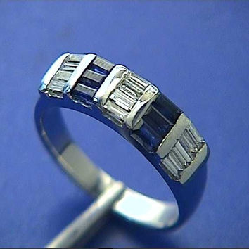 1.44ct Sapphire Diamond wedding Band-Ring 14kt White Gold JEWELFORME BLUE