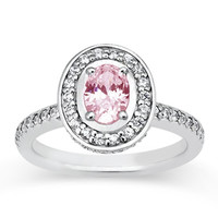 2.81 carats Oval pink center diamond anniversary ring white gold 14K
