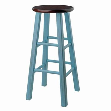 "Ivy 29"" Bar Stool Rustic Light Blue w/ Walnut Seat"