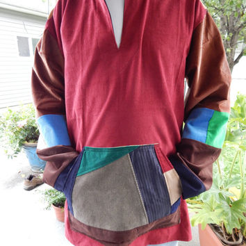 Mens Corduroy Patchwork Baja Hoodie Size L  LARGE patchwork Hooded Pullover Shirt hoodie unisex Corduroy hoodie unisex hoodie ooak hoody