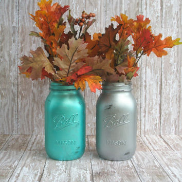 Wedding Mason Jar Vase/Centerpiece Set in Metallic Turquoise and Silver/ Shabby Chic/ Wedding/ Rustic/ Home Decor/ Country