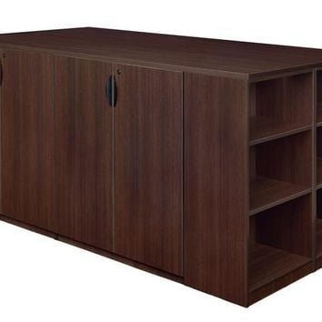 Legacy Stand Up 2 Storage Cabinet/ Lateral File/ Desk Quad with Bookcase End- Java