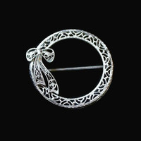 Filigree Wreath Brooch Pin With Bow Detail, In Silver Tone, Holiday Jewelry