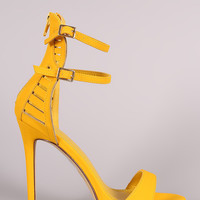 Nubuck Double Ankle Strap Caged-Back Stiletto Heel
