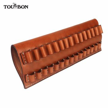 Tourbon Tactical Hunting Rifle Cartridges Holder Fit 30-06,270,65*55 Genuine Leather Ammo Pouch Bullet Carrier Gun Accessories