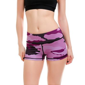 New Women Slim Hip Sexy Shorts Gym Fitness Exercise Shorts  Purple Camouflage Girls Breathable Elastic Lady Sports Tennis Shorts