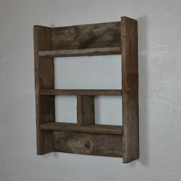 Rustic shadow box style wall shelf 17x13