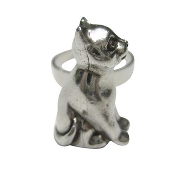 Silver Toned Sitting Cat Adjustable Size Fashion Ring
