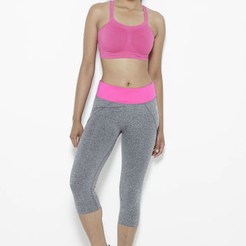 Shear Sighted Capris- Fuchsia/Grey