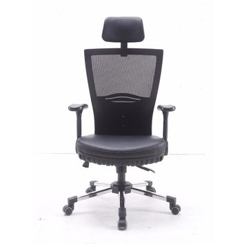 Adjustable Max Pocket Spring Chair with Headrest and Casters - Black