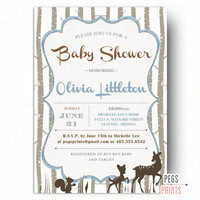 Woodland Baby Shower Invitation Boy - Woodland Shower Invitations - Deer Baby Shower Invitation - Forest Friends Baby Shower - Printable
