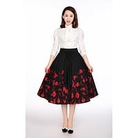 Retro Vintage 60's Falling Flower with Big Bow Black Flare Circle Statement Skirt