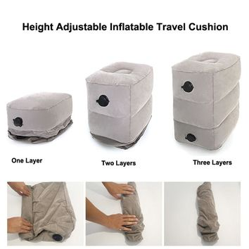 Inflatable Height Adjustable Kids Flight Footrest Pillow Two Valves Design Inflatable Travel Pillow Foot Pad Foot Rest Pillow