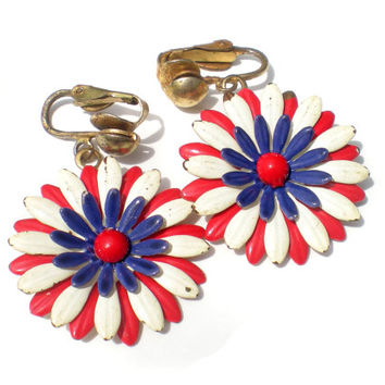 Vintage Patriotic Clip Earrings with Dangling Red White & Blue Painted Flowers - Vintage Costume Jewelry July 4th America
