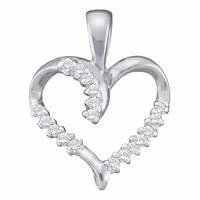 10kt White Gold Women's Round Diamond Simple Heart Outline Pendant 1-10 Cttw - FREE Shipping (US/CAN)