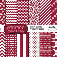 CHEERLEADING Scrapbook Paper MAROON & WHITE Digital Team Colors - Great for Cheerleader and sports themed crafts and awards - Cheer party
