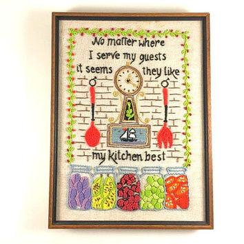Vintage Kitchen Crewel Bright Embroidery Wall Hanging Clock Mason Jar Crewel Green Orange Yellow Kitschy Kitchen Home Decor