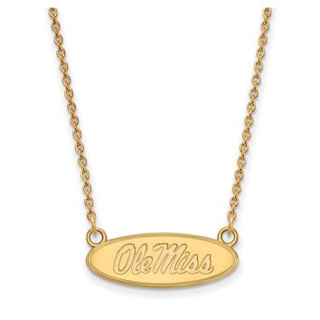NCAA 10k Yellow Gold U of Mississippi Small Ole Miss Pendant Necklace