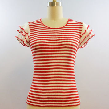 60s 70s Vintage Red Striped Fully Fashioned Knit with Ruffled Sleeves Size Small Medium