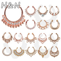 Rose gold new clicker fake nose ring fake septum Piercing clip non Hoop faux Body Jewelry black For Women + cheap