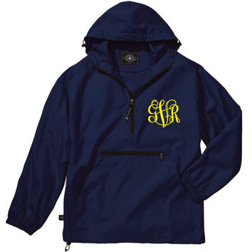 Navy Lightweight Pack-N-Go Rain Jacket Monogrammed Personalized Half Zip Pullover by Charles River Apparel