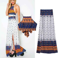 Print Mini Spaghetti Strap Butterfly Vest Split Skirt Set [5013131844]