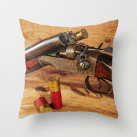 Old Double Barrel Stevens Throw Pillow by Captive Images Photography   Society6