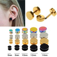 2Pcs Black Gold 6-14mm Surgical Steel Cheater Faux Fake Ear Plugs Flesh Tunnel Gauges Tapers Stretcher Earring Piercing Jewelry