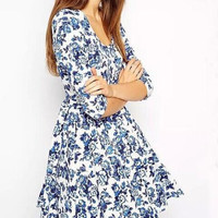 Blue Floral Print Sleeve Pleated Dress
