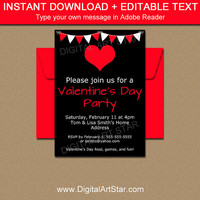 Black and Red Valentines Day Party Invitation Template - Printable Valentines Day Party Sign - EDITABLE Valentine Heart Invitation V3