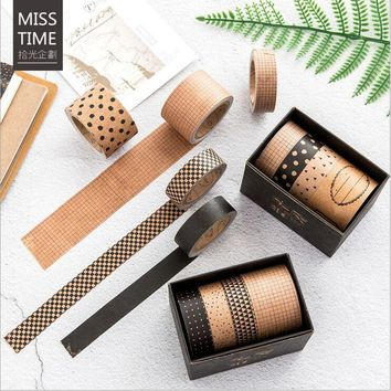4 Pcs/Box Vintage Kraft Square Grid Stripe Polka dot Pattern Decoration washi tape DIY Planner Scrapbooking Masking Tape Escolar