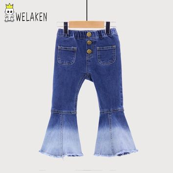 weLaken Fashion Girls Denim Bell-bottoms Solid Children's Clothing