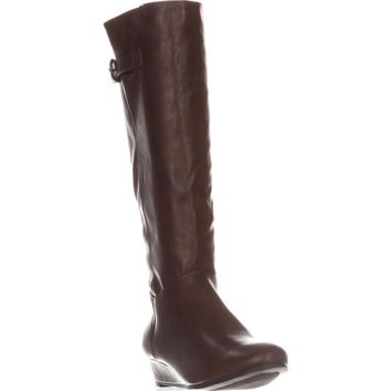 SC35 Rainne Wedge Mid-Calf Boots, Cognac, 5.5 US