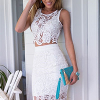 Lace 2 Piece Crochet Dress