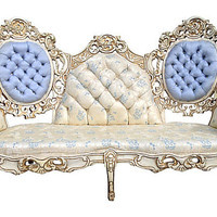 French Rococo Hollywood Glam Modern Chic Elaborately Carved Vinatge Antique Settee Couch