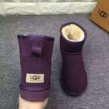 UGG Short boots antiskid warm lazy sheep fur ugg boots Purple-1